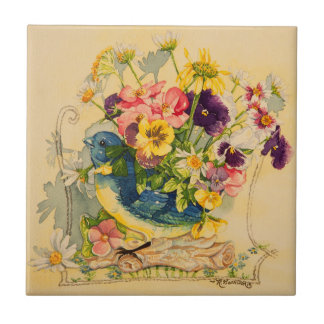 4779 Bluebird Vase with Pansies Tile