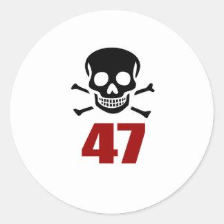 47 Birthday Designs Classic Round Sticker