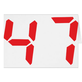 47 fourty-seven red alarm clock digital number card