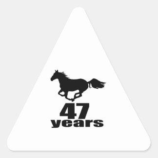47 Years Birthday Designs Triangle Sticker