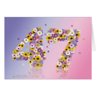 47th birthday card with flowery letters