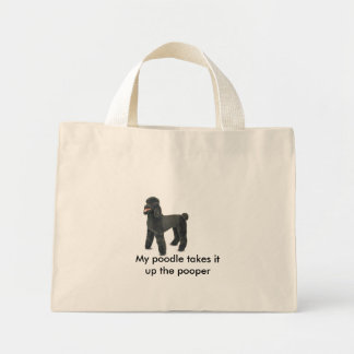 4861-Plush-BlackPoodle, My poodle takes it up t... Mini Tote Bag