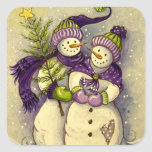 4882 Snowmen Christmas Square Sticker