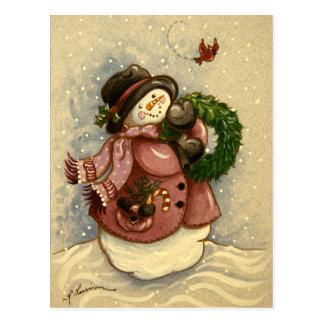 4886 Snowman Wreath Cardinal Christmas Postcard
