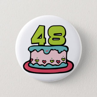 48 Year Old Birthday Cake 2 Inch Round Button