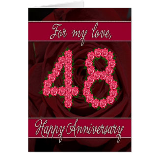 48th anniversary card with roses and leaves