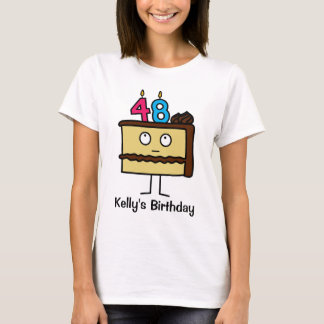 48th Birthday Cake with Candles T-Shirt