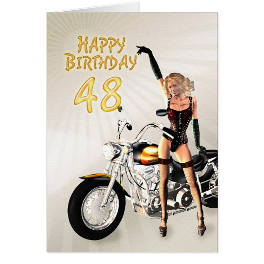 48th Birthday card with a motorbike girl