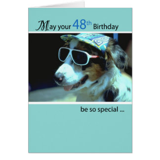 48th Birthday Dog in Funny Sunglasses Card
