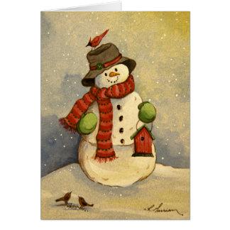 4905 Snowman & Birdhouse Christmas Card