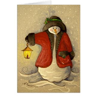4910 Snowman & Lantern Christmas Card