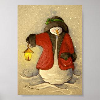 4910 Snowman & Lantern Christmas Poster