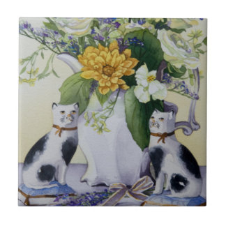 4930 Floral and Precelain Cats Tile