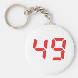 49 fourty-nine red alarm clock digital number keychain