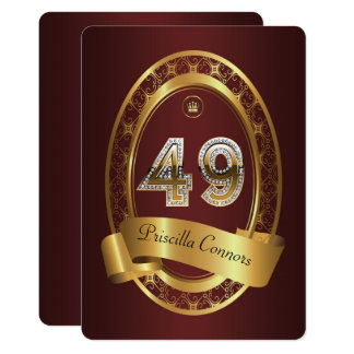 49th,birthday party woman man,elegant color card