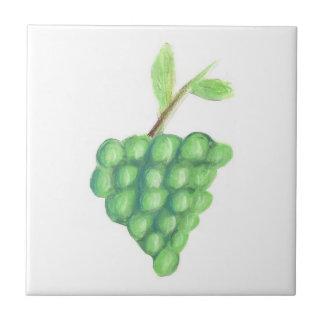 "4.25""x4.25"" Ceramic Tile, Coaster - Green Grapes"