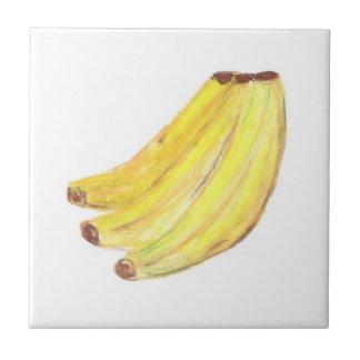 "4.25"" x 4.25"" Ceramic Tile, Coaster - Bananas"