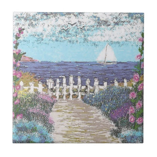 "4.25"" x 4.25"" Ceramic Tile, Coaster - Ocean View"