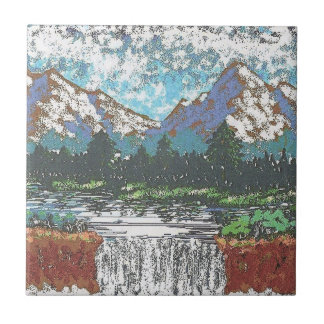 "4.25"" x 4.25"" Ceramic Tile - Mountain Waterfall"