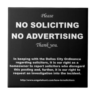 4.25 x 4.25 No Soliciting Tile