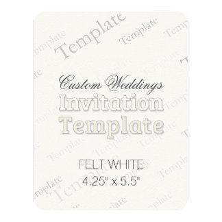 "4.25"" x 5.5"" Felt White Custom Wedding Invitation"