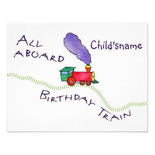 4.25x5.5 All Aboard the Birthday Train Invitation