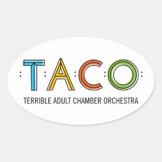 "4.5"" x 2.7"" Oval TACO Stickers (4), Glossy"