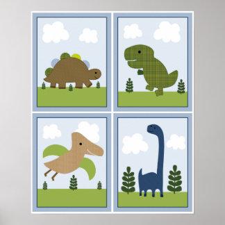 4 art de crèche en 1 pouce de dinosaures/Dino 8x10 Poster