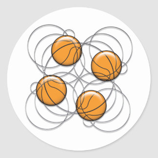 4 Basketball Pattern - 3D Classic Round Sticker