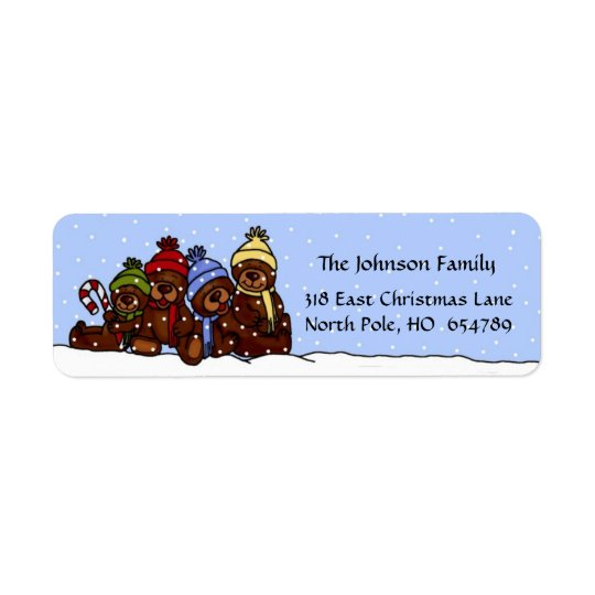 4 Bear family Christmas label in snow Return Address Label