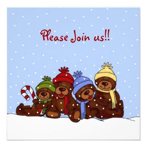 4 bears family christmas party invitation