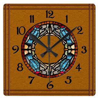 4 Birds Stone Mosaic Square Wall Clock