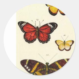 4 butterflies classic round sticker