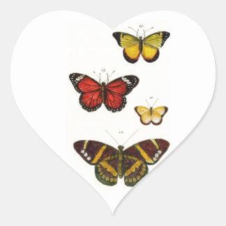 4 butterflies heart sticker