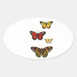 4 butterflies oval sticker