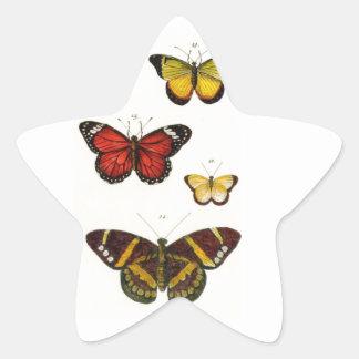 4 butterflies star sticker