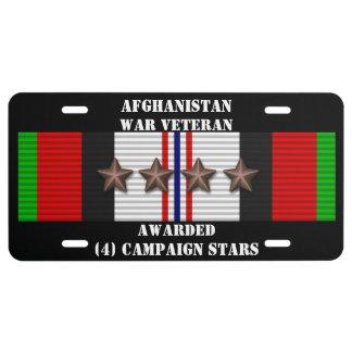 4 CAMPAIGN STARS AFGHANISTAN WAR VETERAN LICENSE PLATE