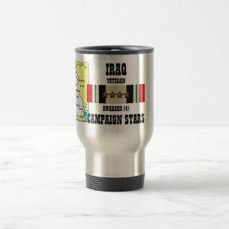 4 CAMPAIGN STARS IRAQ VETERAN STAINLESS STEEL TRAVEL MUG