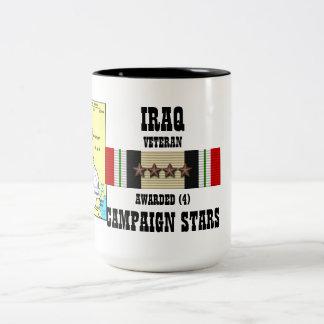 4 CAMPAIGN STARS IRAQ VETERAN Two-Tone MUG