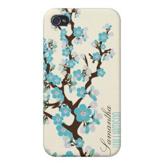 4 Cherry Blossom (aqua) iPhone 4/4S Covers