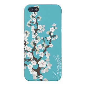 4 Cherry Blossom (aqua) iPhone 5 Cases