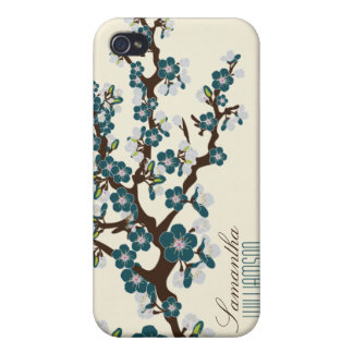 4 Cherry Blossom (teal) iPhone 4 Case