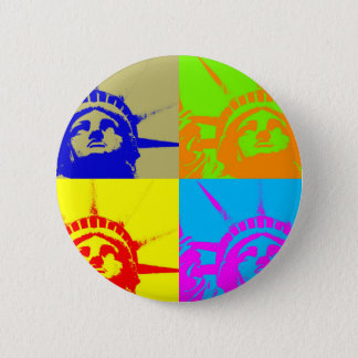 4 Color Pop Art Lady Liberty 2 Inch Round Button