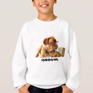 4 Colors - Bulldog - HAM Striped Sleeve V-Neck T Sweatshirt