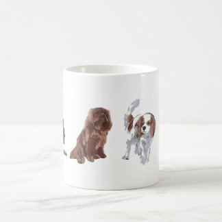 4 colours of Cavalier King Charles Spaniels. Mug
