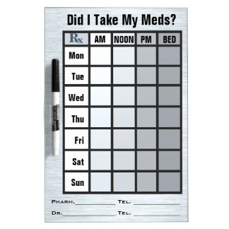 4 Column Medication Check List - Personalized Dry-Erase Board