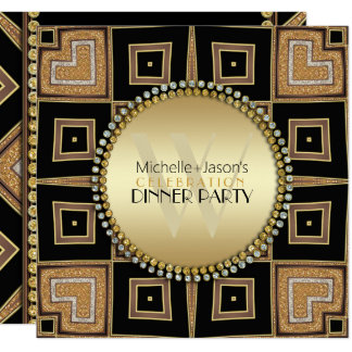 4 Corners of Love Black Gold Art Deco Dinner Party Card