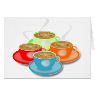 4 Cups of Coffee Greeting Cards