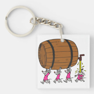 4 Drunk Mice Single-Sided Square Acrylic Keychain