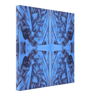 4 Figures in Blue Abstract Canvas Print